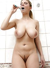 Toothpaste all over her lovely big tits