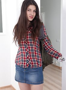 Hairy teen girl Dennis gets naked in her bed after school is over