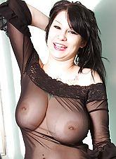 Pierced tits in sheer black lingerie