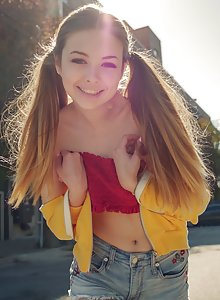 Stunningly hot teen Lana Lea playing on the street in clothes and inside nude
