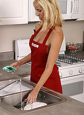 Tall blonde MILF doing more than just cooking in the kitchen