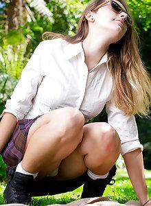 Puffy nipple schoolgirl Virginie fingering her pussy under her skirt outside